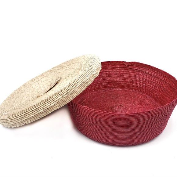 Large woven red basket natural straw handled lid
